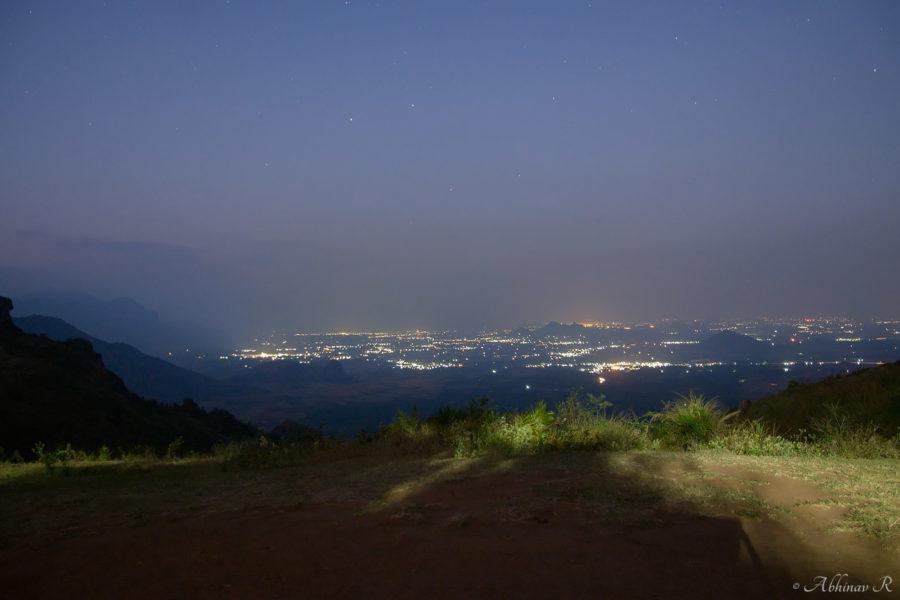 Cumbum town as seen from Ramakkalmedu at night